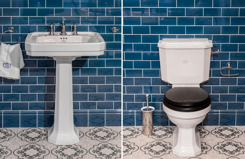 Waschtisch und WC im klassischen Stil
