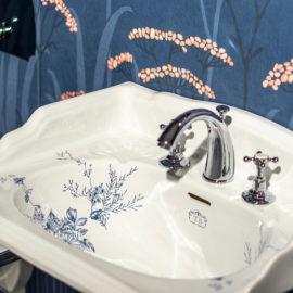 Vintage Waschbecken mit Blumenmotiv TB-SG-063