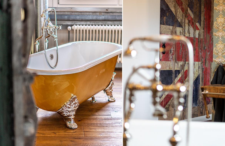 Badezimmer im Loft Stil mit Nostalgie Badewanne