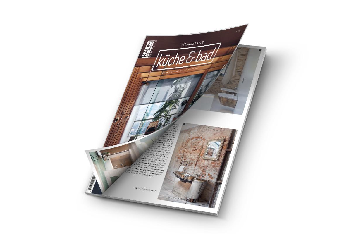 Unsere Vernickelte Messingbadewanne ARGENTUM wird im Trendmagazin Küche & Bad 2021_2022 vorgestellt.